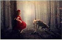 3D壁紙写真霧の森おとぎ話小さな赤い乗馬フードと大きな灰色のオオカミの装飾壁画壁画の壁紙-250x175cm