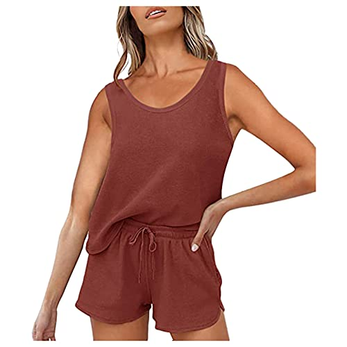 Pistaz Ropa de correr para mujer, sin mangas, pantalones cortos transpirables, para correr, gimnasio, fitness, ropa de casa rojo 44