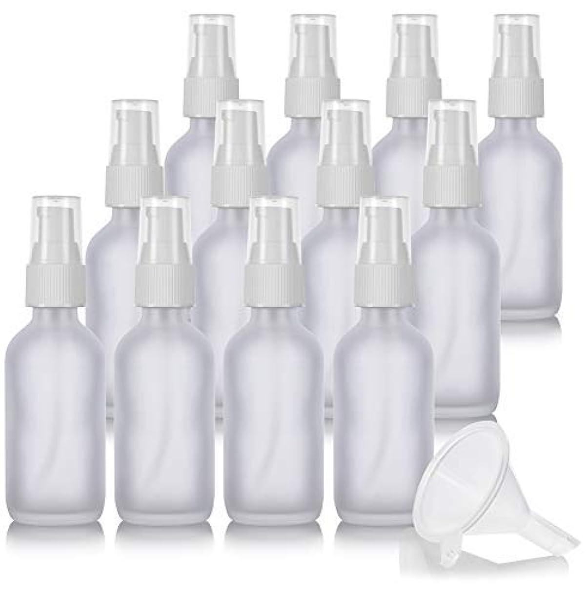 ドリル落ち着いて間隔2 oz Frosted Clear Glass Boston Round White Treatment Pump Bottle (12 Pack) + Funnel and Labels for Cosmetics, Serums, Essential Oils, Aromatherapy, Food Grade, bpa Free [並行輸入品]