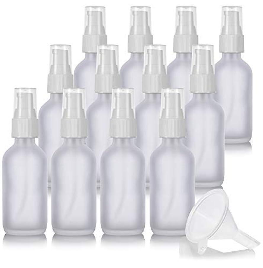 アスレチック独立したぺディカブ2 oz Frosted Clear Glass Boston Round White Treatment Pump Bottle (12 Pack) + Funnel and Labels for Cosmetics, Serums, Essential Oils, Aromatherapy, Food Grade, bpa Free [並行輸入品]