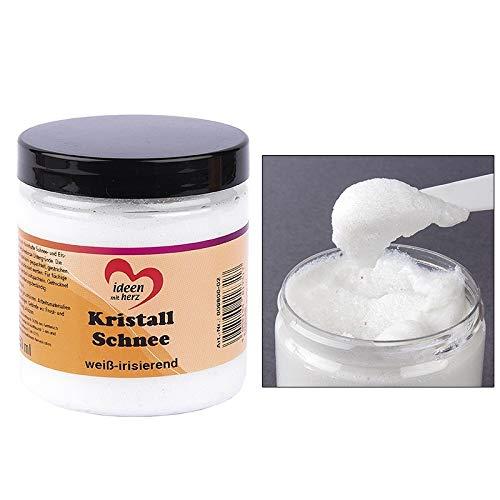 Ideen mit Herz Kristall-Schnee, weiß | dekorative Schneepaste zum Basteln | Deko-Schnee | Kunst-Schnee | 250 ml (weiß irisierend)