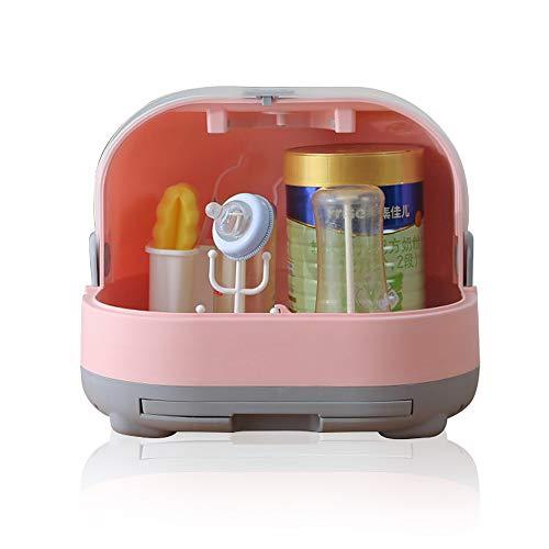 Babyflaschen-Abtropfgestell, mit Anti-Staub-Abdeckung, Flaschenaufbewahrungsbox, Flaschenzubehör, Rosa