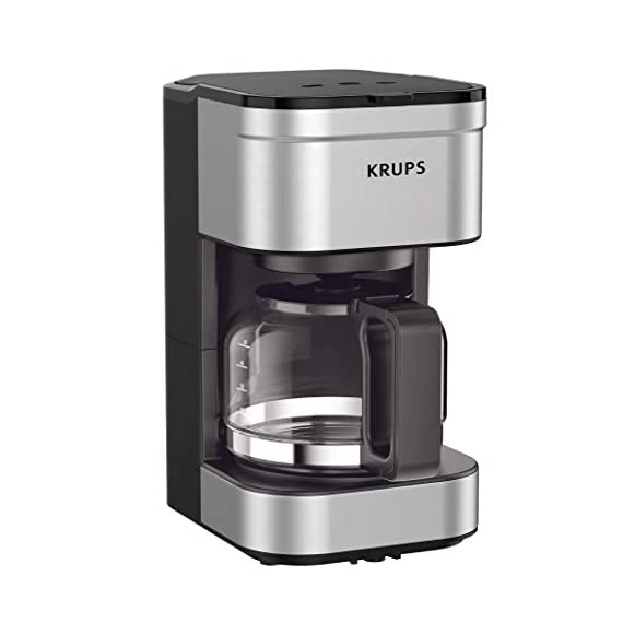 KRUPS Simply Brew Compact Filter Drip Coffee Maker, 5-Cup, Silver 1 PERFECT FOR 1 OR 2: Brews up to 5 cups of coffee/ 750 ml/ 25 fl ounces. CONVENIENT: Allows you to pour a cup of coffee while brewing and automatically keeps your coffee warm. SIMPLE AND EASY TO USE: Coffee pot with no drip spout, which controls the mess; easy On/Off button to start brewing and turn off the brewer; and a conveniently located water tank.