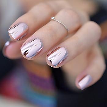 Pink Metallic Fake Nails Short Full Cover Mirror Salon False Nail Art Tips for Women Decoration