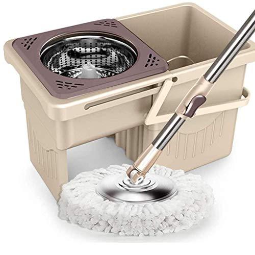DFKDGL Mikrofaser-Spin-Mop-Eimerset 360 Grad; Rotation Home Bodenreinigungssystem Spinning Mop Household Mop Bucket