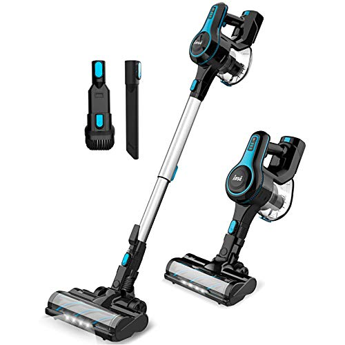 INSE Cordless Vacuum Cleaner Lightweight Powerful Suction Stick Vacuum 1.2 L Large Dus-t Cup Handheld Vac for Clea-ning Home Car Pet Hair Carpet Hard Floor Furniture - N5 Blue