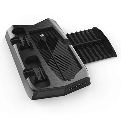 YUYAN Soporte de ventilador de refrigeración vertical para PS5, edición digital con 14 ranuras de juego, 3 puertos de concentrador, doble controlador, estación de carga para PS5