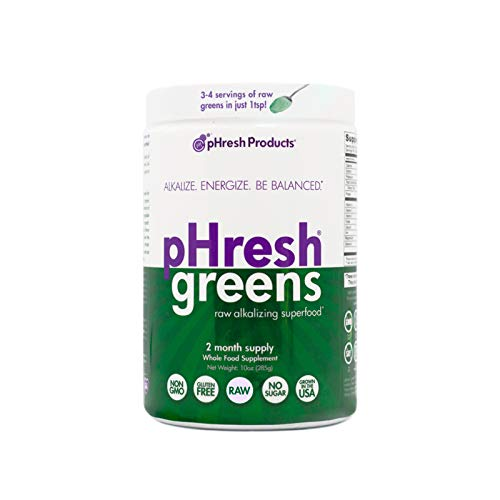 pHresh greens Raw Alkalizing Superfood Greens Powder - 2 Month Supply | Gluten-Free | Natural Enzymes | Raw Nutrients | Great for Intermittent Fasting 10oz