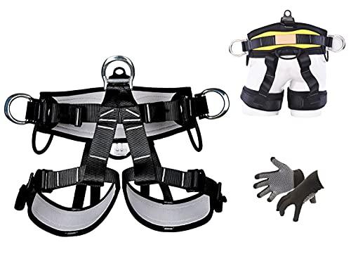 KLLKR Arnés de Medio Cuerpo de protección contra caídas Cinturones de Seguridad de Escalada Arnés de Escalada Profesional para montañismo en Roca para Rappel Equipo de Escalada de árboles de Rescate
