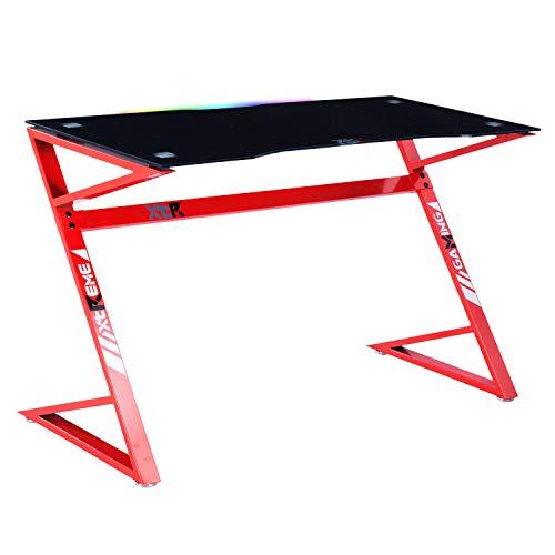XT03, Mesa Gamer, Mesa Ordenador, Escritorio Gaming, Acabado en Carbono y Rojo, Medidas: 120 cm (Largo) x 60 cm (Ancho) x 75 cm (Alto)