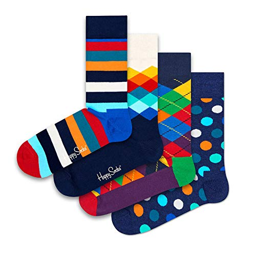 Happy Socks Men's Mix Gift Box Socks, Blue (Navy 6000), 7-10 (Manufacturer Size:41-46) (Pack of 4)