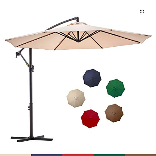 Le Conte Offset Umbrella 10ft Cantilever Patio Hanging Umbrella Outdoor Market Umbrellas with Crank & Cross Base (Beige)