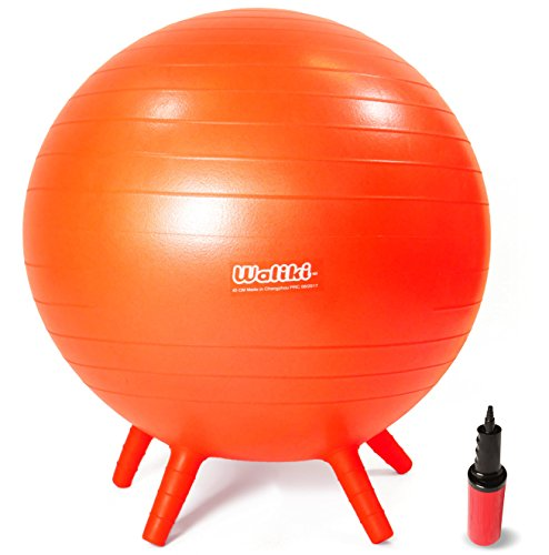 "WALIKI TOYS Children's Chair Ball with Feet, Alternative Classroom Seating (Inflatable Balance Ball Chair With Stability Legs for School, Pump Included, 18""/45CM, Orange)"