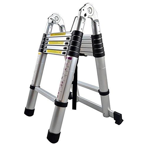 MCTECH® Aluminium Teleskopleiter 3,8m klappbar Multifunktionsleiter Aluleiter Klappleiter 150 kg Belastbarkeit (3,8m klappbar)