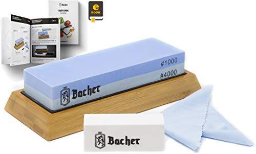 Bacher Premium Schleifstein. Zweiseitig, Körnung 1000/4000 Wetzstein Abziehsteine. Messerschärfer Wasserstein mit rutschfestem Bambusblock, Läppstein und detaillierter eBook-Anleitung