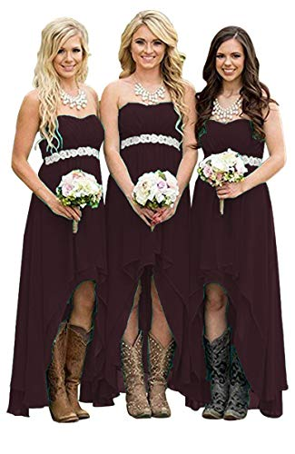 Homdor Women Strapless High Low Bridesmaid Dresses Off The Shoulder Wedding Gown