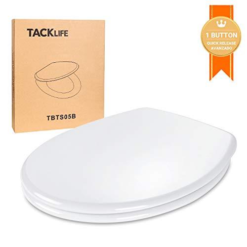 Tapa WC Universal, TACKLIFE TBTS05B Asiento de Inodoro en Forma de O con Liberación Rápida Tapa de Inodoro con Cierra Suave y Silencioso Fácil de Instalación y Limpieza