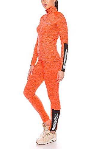 Rock Creek Damen Trainingsanzug Sportanzug Fitnessanzug Shirt Leggings [D-397 - Neon-Orange - M]