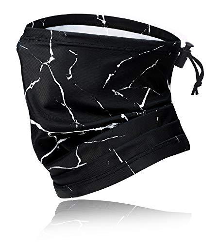 MOBUR Neck Gaiter Face Scarf Mask Bandana Dust Face Mask Headband with Adjustable Tie Behind Head Straps (Black Marbled)