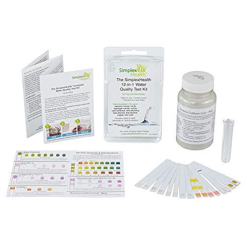 SimplexHealth Trinkwasser Wassertest (12 versch. Tests in 1) u.a. Eisen/Kupfer/pH/Gesamthärte (GH)/Nitrit/Nitrat/Karbonathärte (KH), 25 Tests, schnelle Ergebnisse