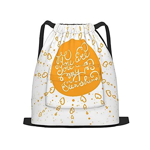 BohoMonos Mochila deportiva con cordón,Sol con cartel de tipografía dibujada a mano, Gym Sackpack para Hombres Mujeres Niños Yoga Travel Camping String Bag.