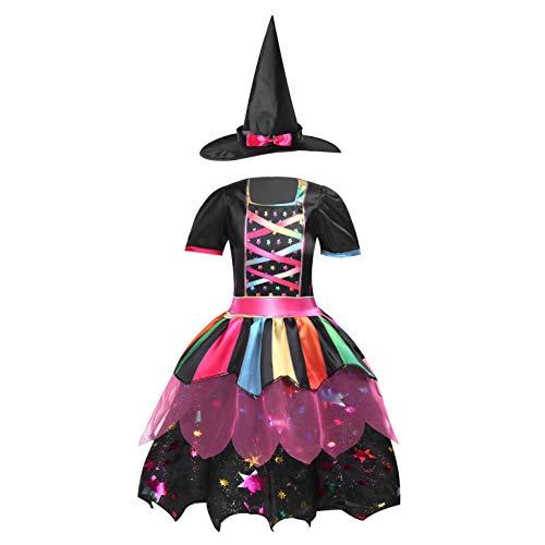 ranrann Disfraz de Bruja Niña Vestido Tutú Princesa Brillantes Estrellas con Sombrero Bolsa de Dulces Varita Traje Reina Oscuridad para Halloween Fiesta Carnaval Negro A 7-8 años