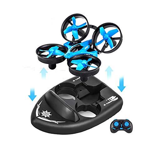 Mini Drohne für Kinder, ferngesteuerte Boote für Schwimmbad und Seen, RC Auto 3in1 Meer-ter-Luftmodus umschaltbar Wasserdicht Luftfahrt Spielzeug RC Quadrocopter perfekt als Geburtstagsgeschenk