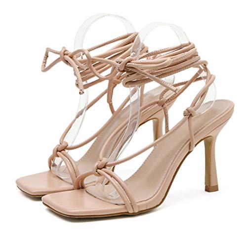Sandales d'été à lacets avec col en V et talon aiguille, bout carré, rose, pointure 36