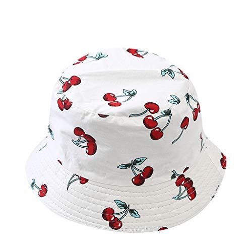 Voberry- Mignon Enfants Cerise Double Face Enfants Hommes et Femmes Bassin Chapeau été Loisirs de Plein air Chapeau de Soleil Beaux Enfants Portant Un Chapeau d'été