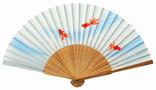 セラミック藍 扇子 流水金魚 サイズ:約21cm 71096