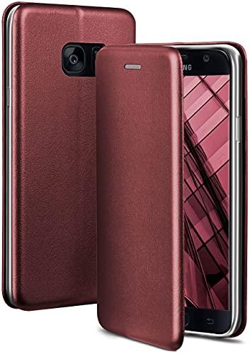 ONEFLOW Handyhülle kompatibel mit Samsung Galaxy S7 - Hülle klappbar, Handytasche mit Kartenfach, Flip Hülle Call Funktion, Leder Optik Klapphülle mit Silikon Bumper, Weinrot
