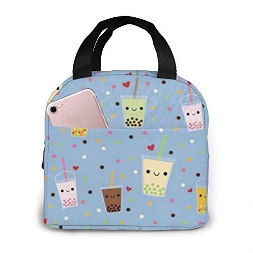 Happy Boba Bubble Tea Reusable Insulated Lunch Bag Zipper Closure Cooler Tote Box with Front Pocket Handbag for Women/Men Office Boys Girls School