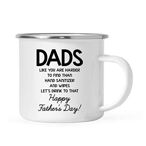 Divertido regalo de taza de café de acero inoxidable de cuarentena para el día del padre de 10 onzas, papás como tú son más difíciles de encontrar que el desinfectante de manos y las toallitas ¡Vamos