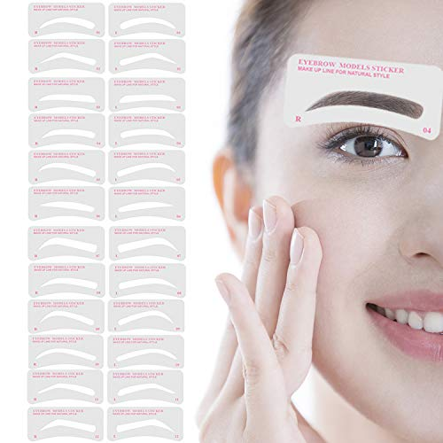 Eyebrow Stencil,Eyebrow Shaper Kit 12 Styles 3 Minutes Makeup Tools For Eyebrows Extremely Elaborate Reusable Eyebrow Template Eyebrow Gel Eyebrow Tint Dye Stencils for A Range Of Face Shapes
