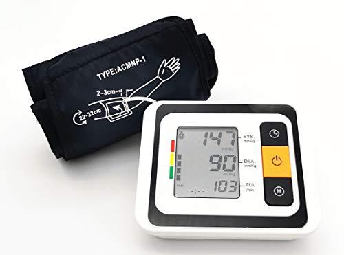 Digital Oberarm Blutdruckmessgerät elektrischer und Automatische Pulsmesser Blutdruck Messgerät LCD Monitor 2x120 Speicherkapazität Oberarmumfänge von 22-32 cm