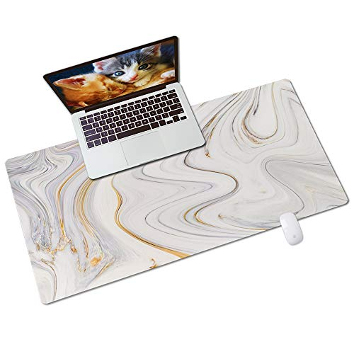 """QIYI Desk Pad, PU Leather Desk Blotter Protector, Gold Glitter Marble Design Waterproof Computer Desk Mat, Thick Keyboard Mouse Pads, Non Slip Extended Large Size 31.5"""" x 15.7"""" - Luxury Marble Ink"""