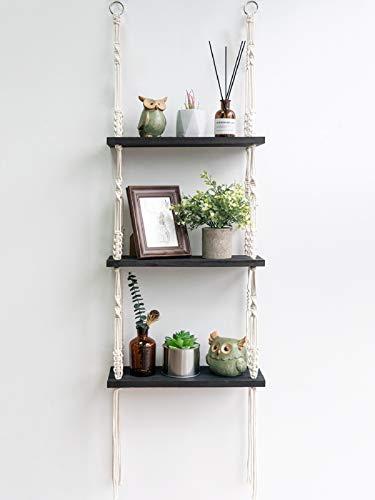 TIMEYARD Macrame Shelf Hanging Shelves, Wooden Wall Shelf with Woven Rope, Black Floating Shelves...