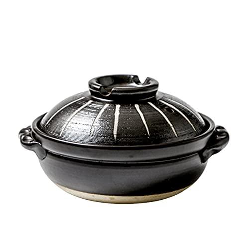 Cazuela de Sopa Donabe japonés Pote Caliente, cazuela de cerámica Resistente al Calor con Tapa, guiso más Lento, Plato de cazuela Redonda, Olla de Sopa, Olla de Cocina sin Aceite (Tamaño : 900ML)