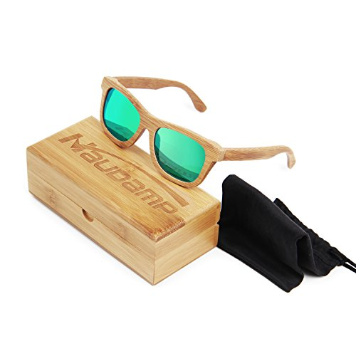 Naudamp Bamboo Polarized Sonnenbrillen Herren Damen Holzbrille für Wassersport und Outdoor-Aktivitäten