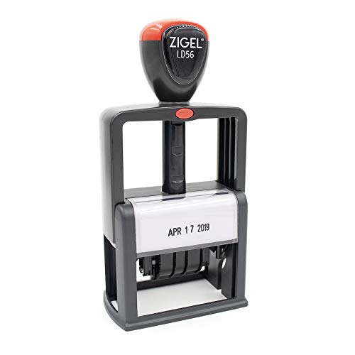 ZIGEL Heavy Duty Style Self Inking Date Stamp, Professional Large Date Size (LD56) - Black Ink