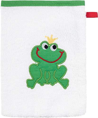 Smithy Waschlappen aus 100% Baumwolle – Öko Tex 100 zertifizierter hochwertiger Waschhandschuh mit süßem Froschkönig Motiv in weiß