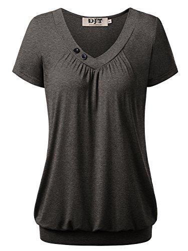 DJT Damen Basic V-Ausschnitt Kurzarm T-Shirt Falten Tops mit Knopf Grau-4 M