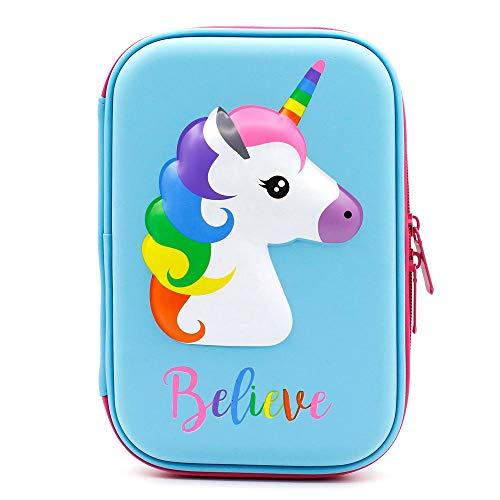 Astuccio con grazioso unicorno in rilievo, astuccio portapenne a forma di unicorno, per bambini, grande, per matite, penne e cancelleria,anche per cosmetici per bambine blu