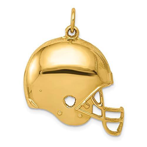 Black Bow Jewellery Company: 14K Gelb Gold Poliert Fußball Helm Anhänger, 25mm