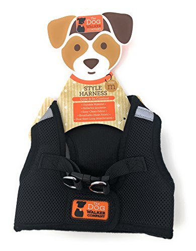The Dog Walker Medium Style Reflective Harness ~ Black