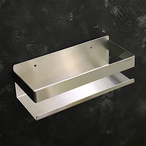 FORIOUS Duschablage ohne Bohren, 10 Zoll Duschregal ohne Bohren, Zwei Installation von Patentiertem Kleber + Selbstklebend und Bohren, Aus Edelstahl, Gebürstet