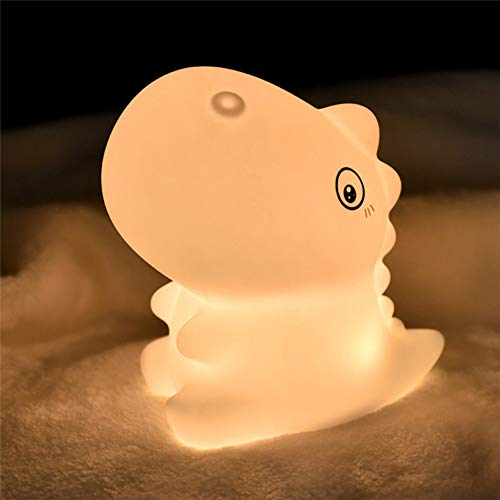 SMCOOL Cute Dinosaur Silicone Touch Night Light LED for Kids, Creative Bedside Lamp Children's Bedroom Romantic Color Changing, Breastfeeding Light USB Powered, For Bedroom, Living Room