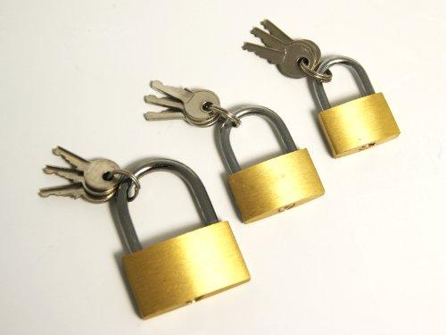 Vorhängeschlösser Schlösser 3er Set 3 Größen 25, 30, 40mm mit je 3 Schlüsseln
