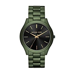 This 44mm Slim Runway watch features a black sunray dial with rose gold-tone stick indexes Quartz three-hand movement Attachment: olive ionic plated stainless steel bracelet. Case Size: 45mm; Case Thickness: 10mm; Band Width: 22mm Water Resistant up ...