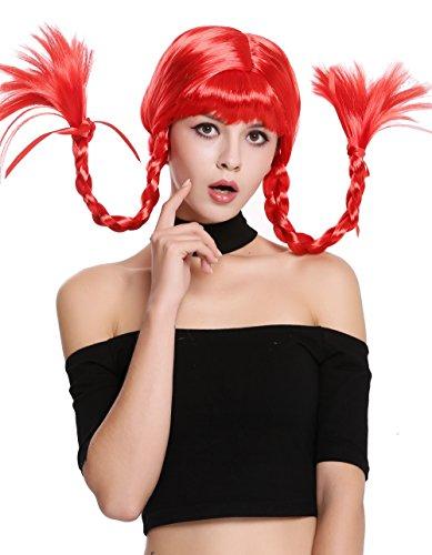 WIG ME UP - DDH-T8175-PC13 Perücke Damenperücke Karneval Halloween Freche Göre Lolita steife geflochtene Zöpfe rot Pony